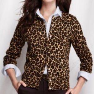 LANDS END Leopard Supima Cotton Cardigan Sweater